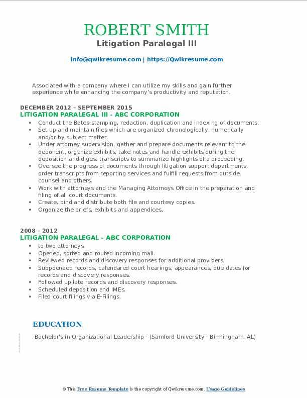 Litigation Paralegal III Resume Example