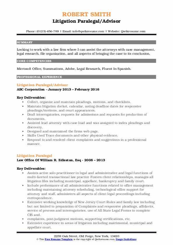 Litigation Paralegal/Advisor Resume Sample