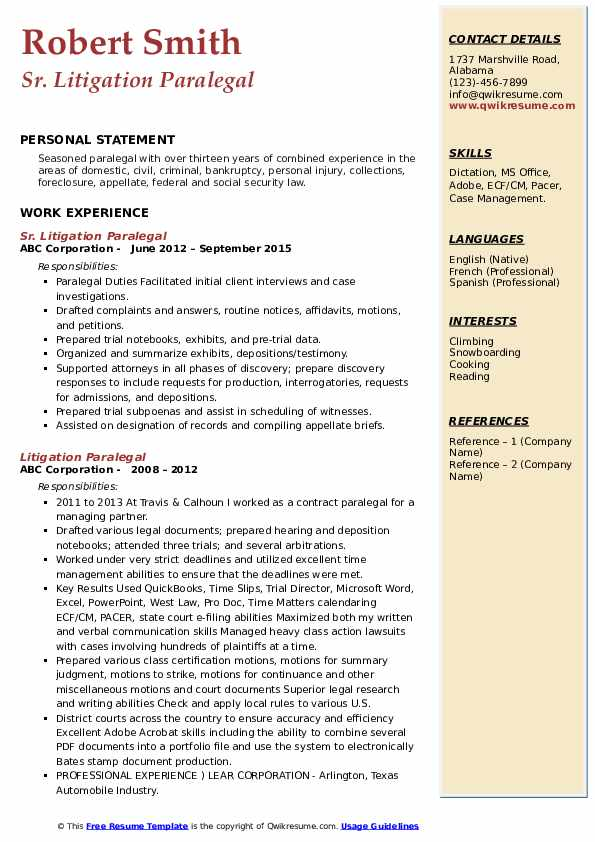 Sr. Litigation Paralegal Resume Format