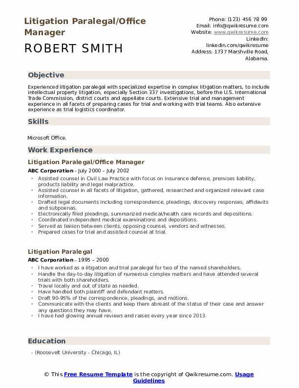 Litigation Paralegal/Office Manager Resume Model