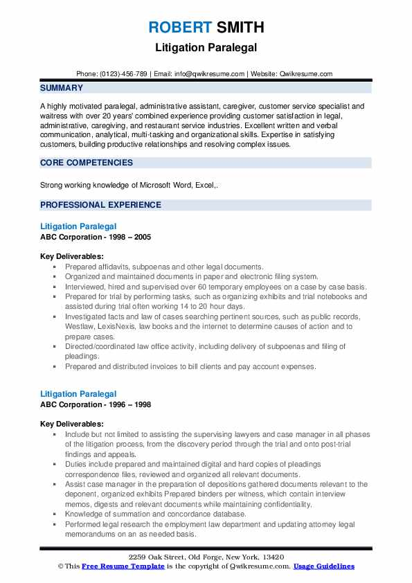 Litigation Paralegal Resume example