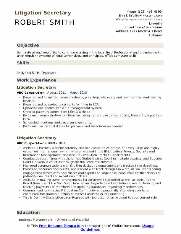 Litigation Secretary Resume example