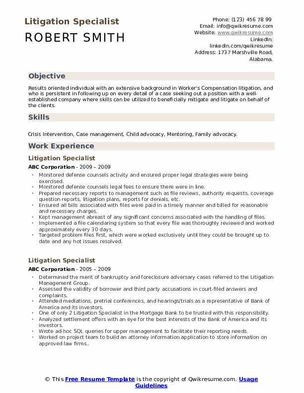 litigation specialist resume samples