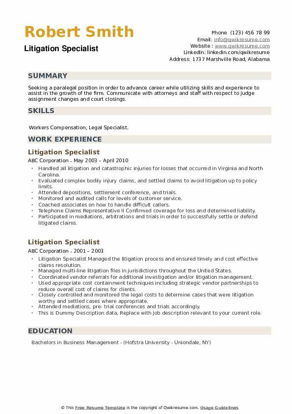 Litigation Specialist Resume example