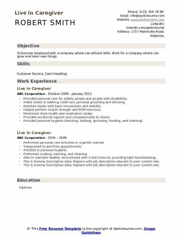 Live In Caregiver Resume example