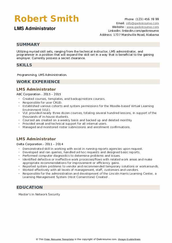 LMS Administrator Resume example