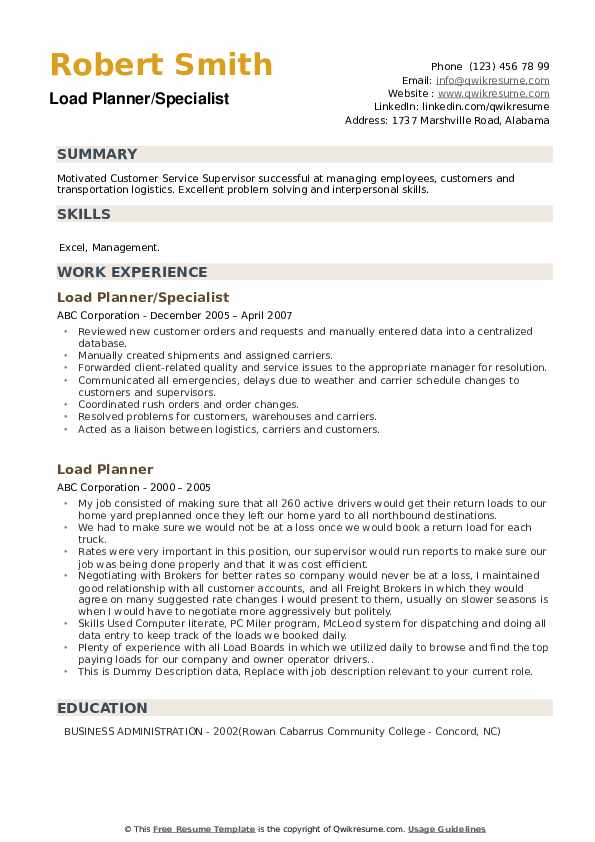 Load Planner Resume example