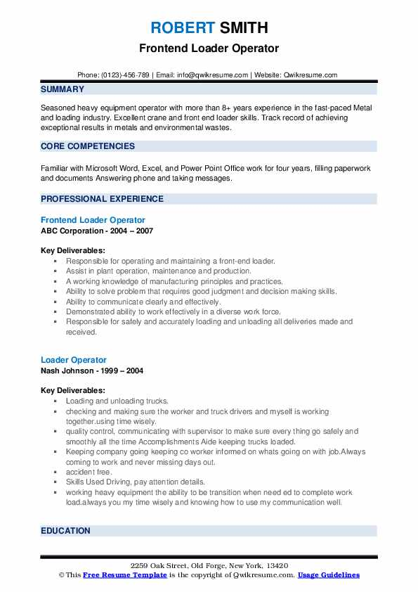 Frontend Loader Operator Resume Example