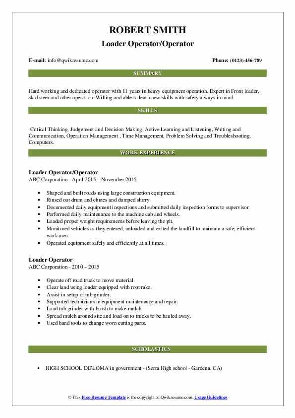 Loader Operator/Operator Resume Template
