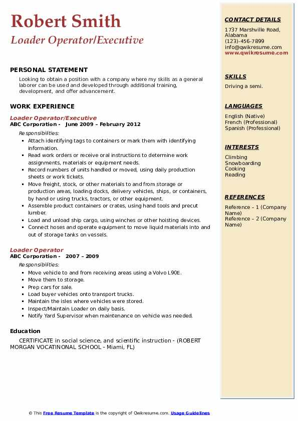 Loader Operator/Executive Resume Sample