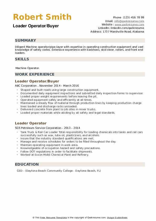 Loader Operator/Buyer Resume Format