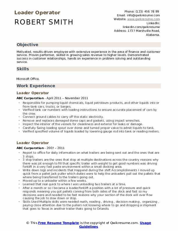 Loader Operator Resume example
