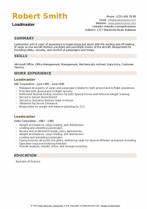 Loadmaster Resume example