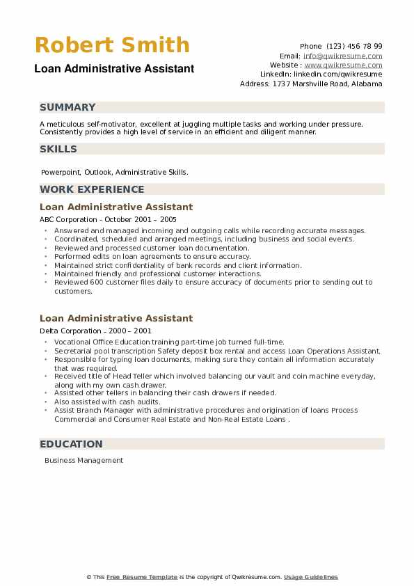 Loan Administrative Assistant Resume example