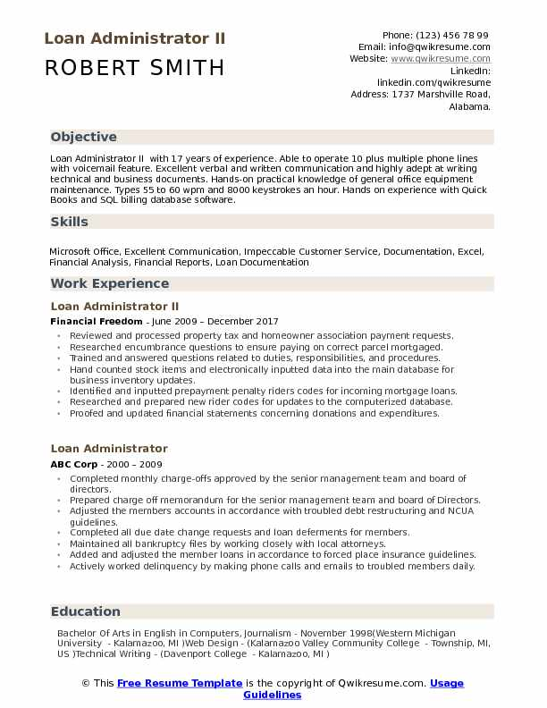 Loan Administrator II Resume Template