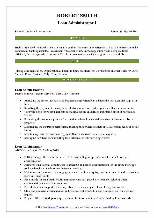 Loan Administrator I Resume Sample