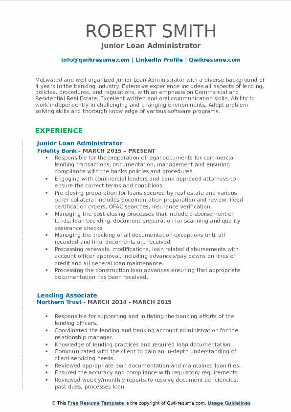 Junior Loan Administrator Resume Template