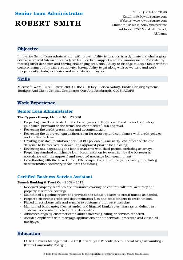 Senior Loan Administrator Resume Sample