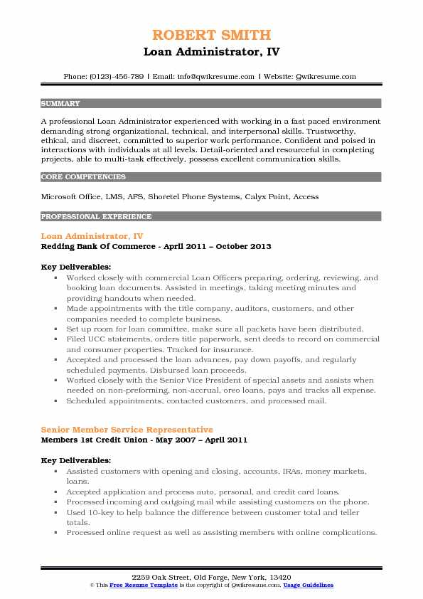 Loan Administrator, IV Resume Example