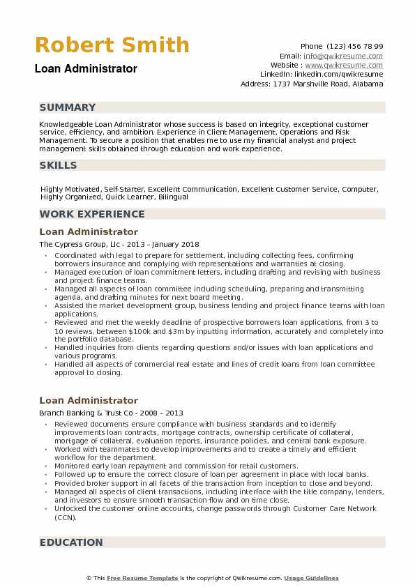 Loan Administrator Resume example