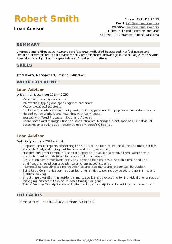 Loan Advisor Resume example