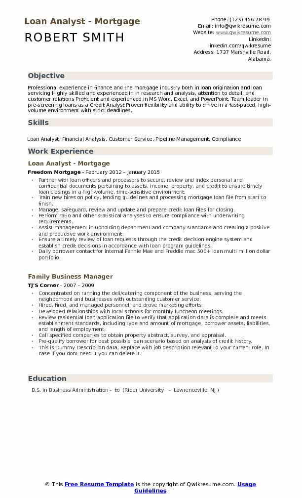 Loan Analyst - Mortgage Resume Template