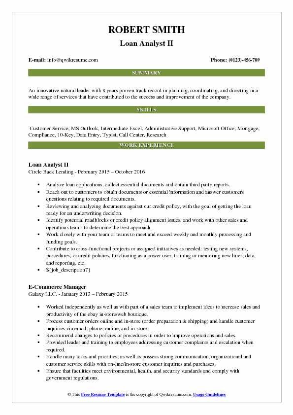 Loan Analyst II Resume Model