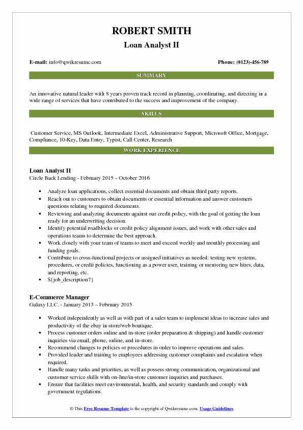 Loan Analyst II Resume Format