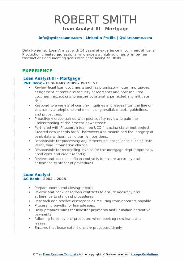 Loan Analyst III - Mortgage Resume Template