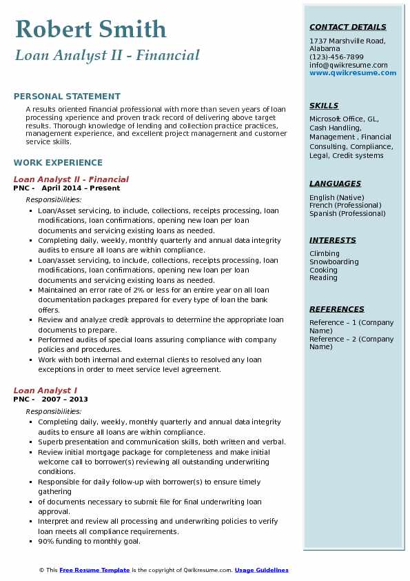 Loan Analyst II - Financial Resume Model