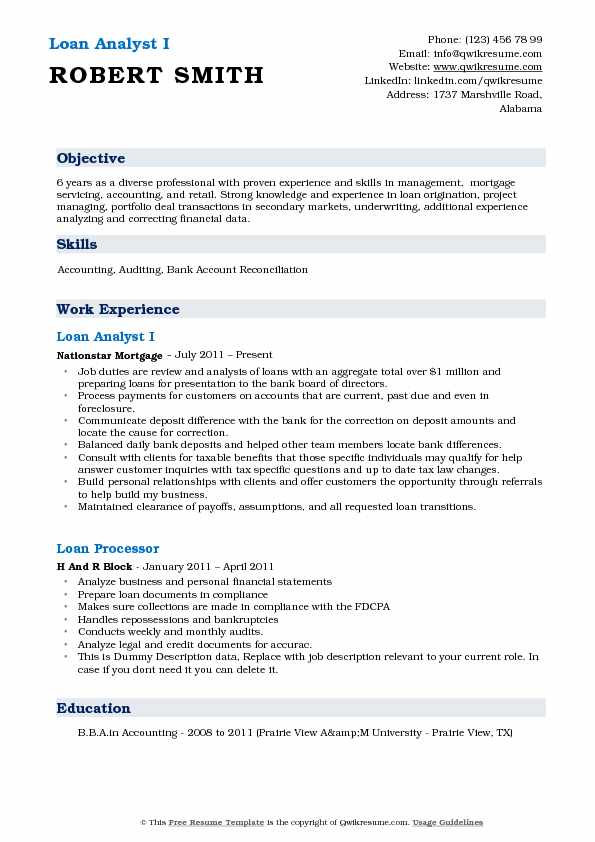 Loan Analyst I Resume Format