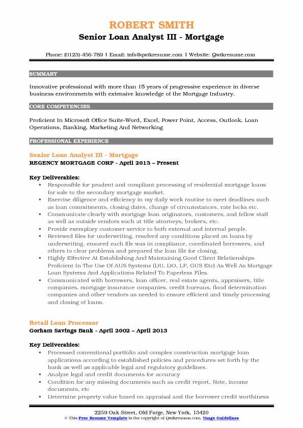 Senior Loan Analyst III - Mortgage Resume Model