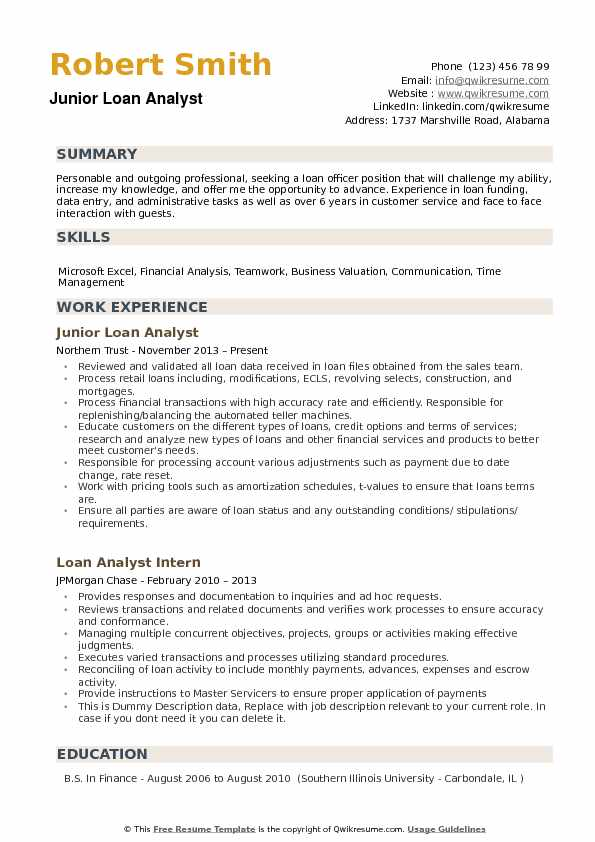 Junior Loan Analyst Resume Example