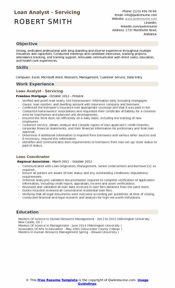 Loan Analyst - Servicing Resume Format