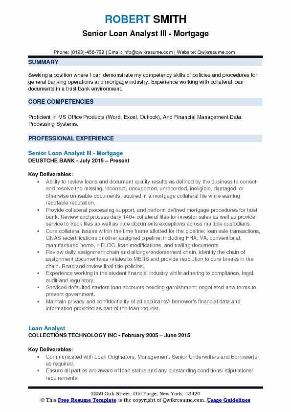 Senior Loan Analyst III - Mortgage Resume Format