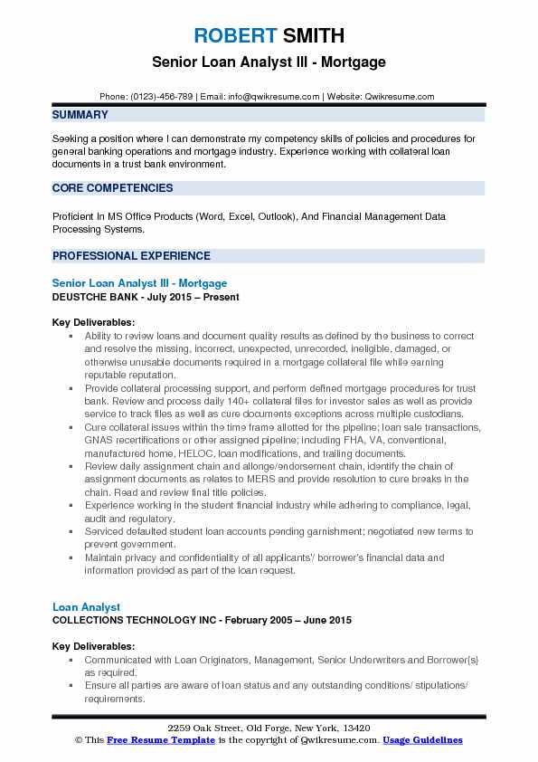 Senior Loan Analyst III - Mortgage Resume Model