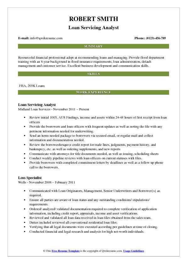Loan Servicing Analyst Resume Template