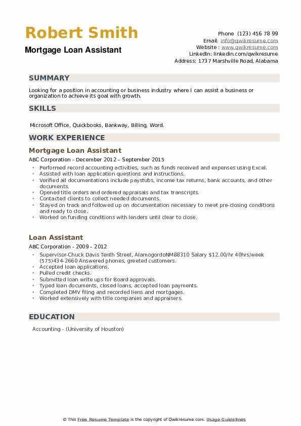 loan assistant resume samples