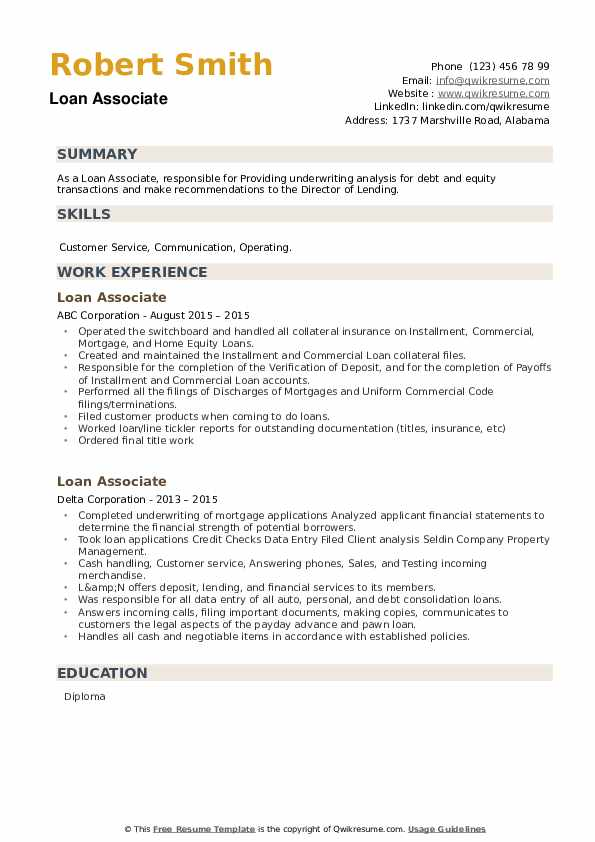 Loan Associate Resume example