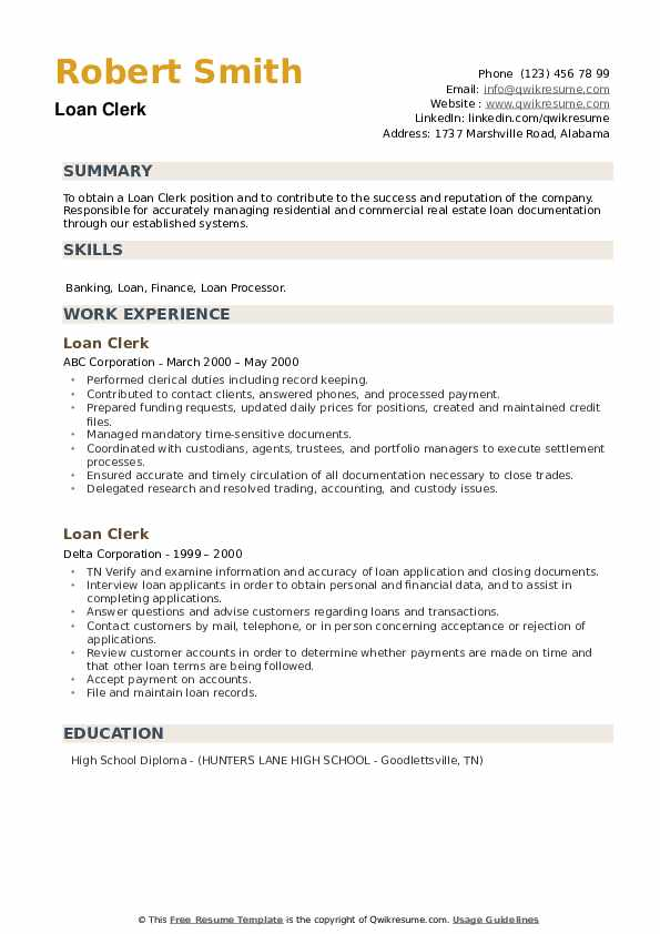 Loan Clerk Resume example