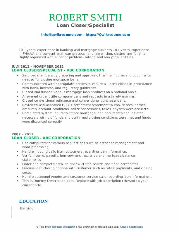 loan closer resume samples