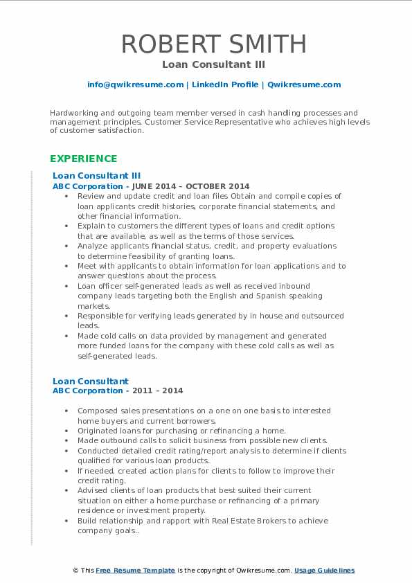 Loan Consultant III Resume Format