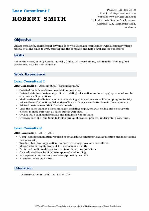 Loan Consultant I Resume Template