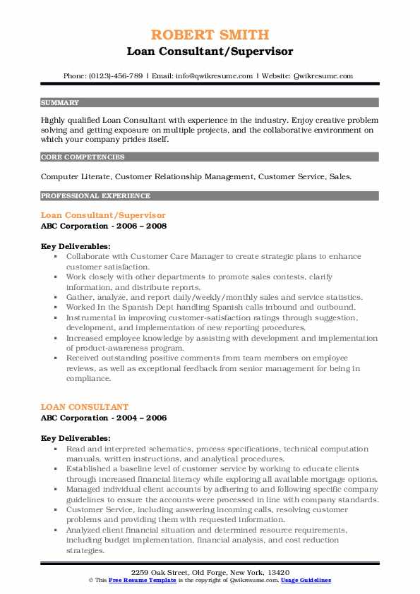 Loan Consultant/Supervisor Resume Template