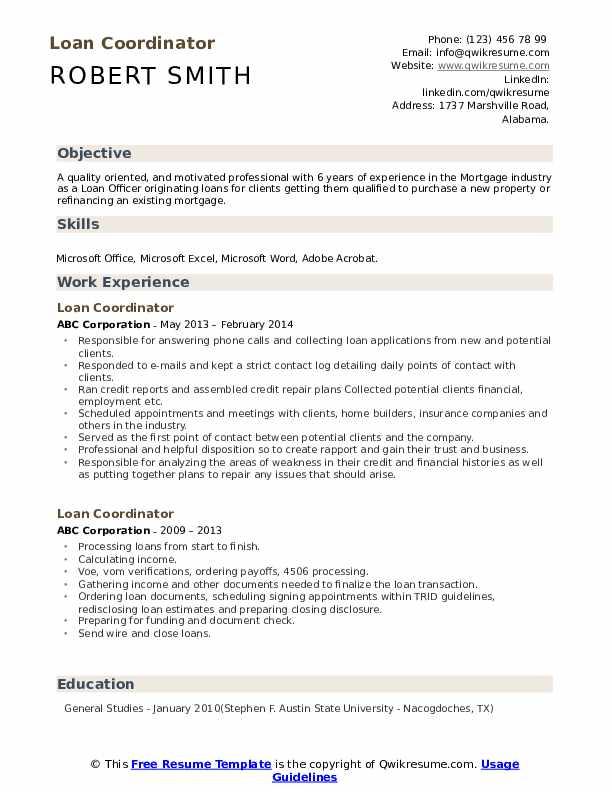 Loan Coordinator Resume Sample