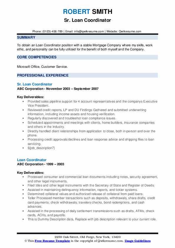 Sr. Loan Coordinator Resume Template