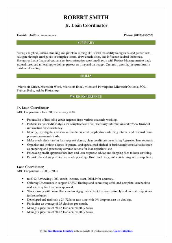 Jr. Loan Coordinator Resume Sample
