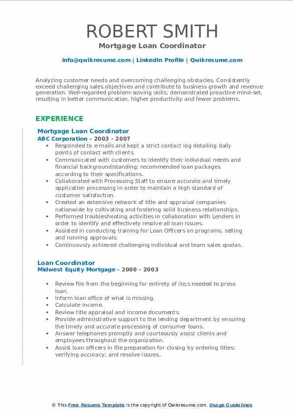 Mortgage Loan Coordinator Resume Format