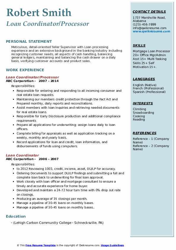 Loan Coordinator/Processor Resume Format