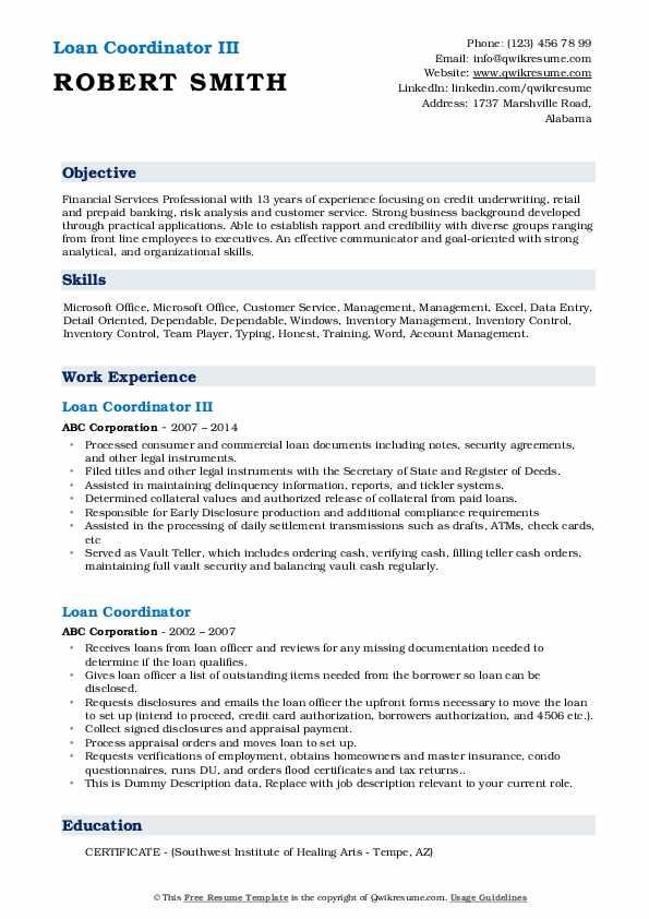 Loan Coordinator III Resume Example